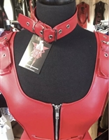 Misfitz  red faux leather buckle choker