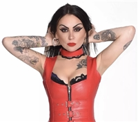 Misfitz red faux leather & lace buckle choker