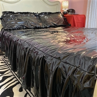 Misfitz black gloss pvc deluxe frilled king sized bed sheet