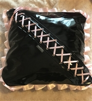 "Misfitz pvc & baby pink satin ""Kinky Angel""  complete cushion"