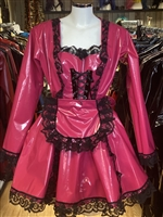 DEEP PINK PVC SWEETHEART MAIDS DRESS