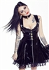 BLACK PVC & LACE PADLOCK SKATER DRESS