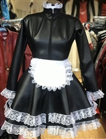 BLACK LEATHER LOOK CORSET BACK SKATER MAIDS DRESS