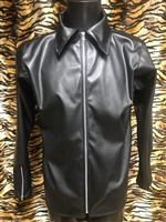 STRETCH FAUX LEATHER COLLARED SHIRT