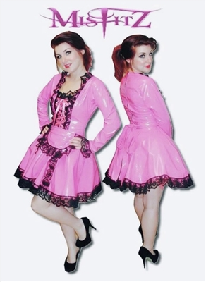 HOT PINK PVC FRILLY CORSET MAID
