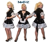 BLACK PVC FRILLY DELIGHTS MAIDS DRESS