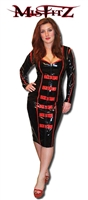 BLACK AND RED PVC BUCKLE MISTRESS DRESS