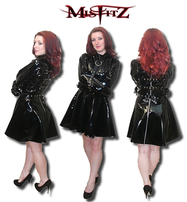 BLACK PVC STRAITJACKET BUCKLE SKATER DRESS