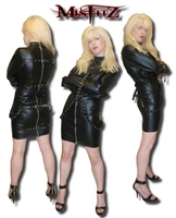 LEATHER LOOK BUCKLE RESTRAINT STRAITJACKET DRESS