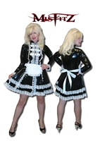BLACK AND WHITE PVC BUCKLE RESTRAINT MAIDS