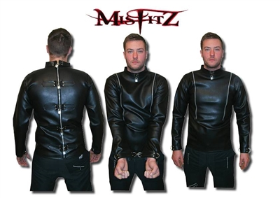 FAUX LEATHER PADLOCK STRAIT JACKET