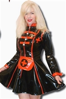 BLACK AND RED PVC STRAIT JACKET SKATER NURSE