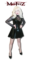 BLACK PVC AND LACE GOTHIC SKATER DRESS