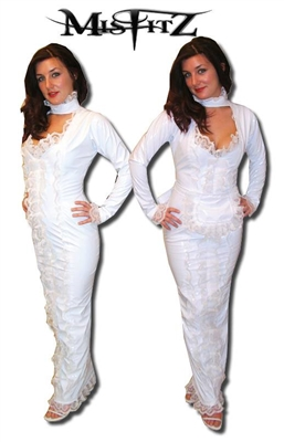 WHITE PVC HOBBLE BRIDAL MAIDS DRESS