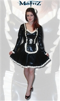 BLACK & WHITE LATEX CORSET EFFECT FRENCH MAIDS OUTFIT