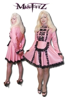 BABY PINK LATEX PADLOCK STRAITJACKET MAIDS DRESS