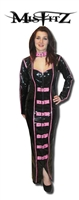 BLACK AND HOT PINK SWEETHEART HOBBLE BUCKLE DRESS