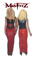 RED LATEX HOBBLE SKIRT. ALSO AVAILABLE IN BLACK