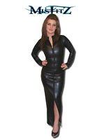 LEATHER LOOK HOBBLE MISTRESS DRESS WITH 2 WAY ZIP FRONT