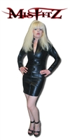 LEATHER LOOK MISTRESS DRESSWITH TWO WAY ZIPPER