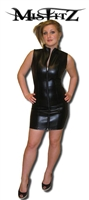 LEATHER LOOK SLEEVELESS BARBARELLA DRESS