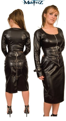LEATHER LOOK BUCKLE SKIRT