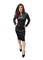 LEATHER LOOK PENCIL MISTRESS DRESS WITH TWO WAY ZIPPER
