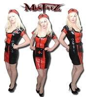 BLACK & RED LATEX NURSE UNIFORM