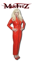 RED PVC HOBBLE DRESS WITH TWO WAY ZIPPER (ALSO AVAILABLE IN BLACK)