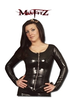BLACK LATEX ZIPPER JACKET