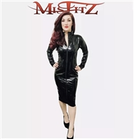 PVC PENCIL LENGTH MISTRESS DRESS WITH TWO WAY ZIPPER