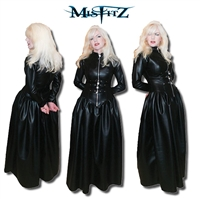 BLACK  LEATHER LOOK  STRAITJACKET PADLOCK BALLGOWN