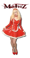 MISFITZ RED  LATEX SWEETHEART MAIDS DRESS