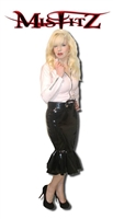 BLACK PVC FRILLY PENCIL SKIRT