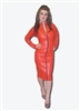RED LEATHER LOOK PENCIL MISTRESS DRESS