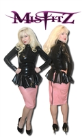 BABY PINK LATEX PENCIL SKIRT WITH TWO WAY ZIPPER