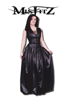 LEATHER LOOK CORSET FRONT BALLGOWN