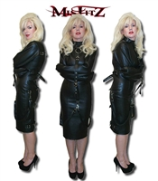 LEATHER LOOK STRAITJACKET DRESS