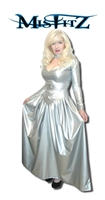 SILVER LEATHER LOOK BUCKLE BALLGOWN, ALSO AVAILABLE IN BLACK