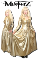 GOLD LEATHER LOOK PADLOCK BALLGOWN