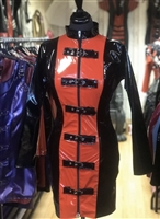 BLACK & RED PVC BUCKLE MISTRESS DRESS