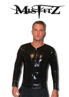 BLACK LATEX LONG SLEEVE ZIP SHIRT