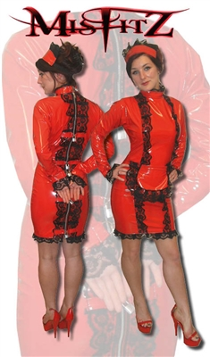 RED PVC STRAIT JACKET FRENCH MAID