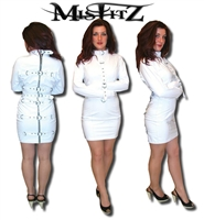 WHITE LEATHER LOOK STRAITJACKET DRESS