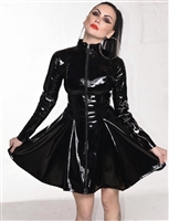 BLACK PVC MISTRESS SKATER DRESS