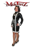 BLACK LEATHER LOOK NURSE/ MAID DRESS, 2 WAY ZIP BACK