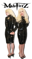 BLACK PVC PADLOCK PENCIL STRAIT JACKET DRESS