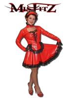 RED PVC SWEETHEART CORSET MAIDS DRESS