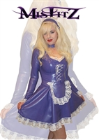 PURPLE  LATEX CORSET EFFECT MAIDS DRESS