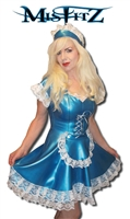 MISFITZ PEARLSHEEN BLUE LATEX MAIDS DRESS